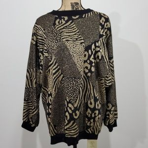 Vintage 80s metallic Animal print sweater